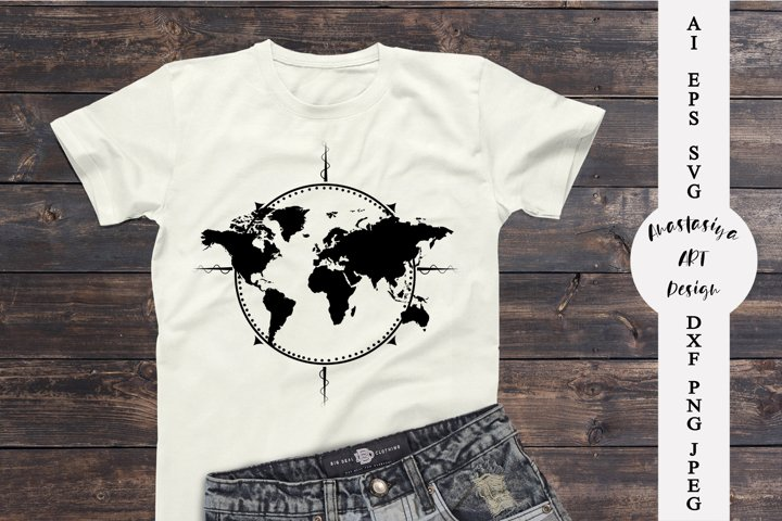 World map, Global map dxf, Continents silhouette svg, Earth