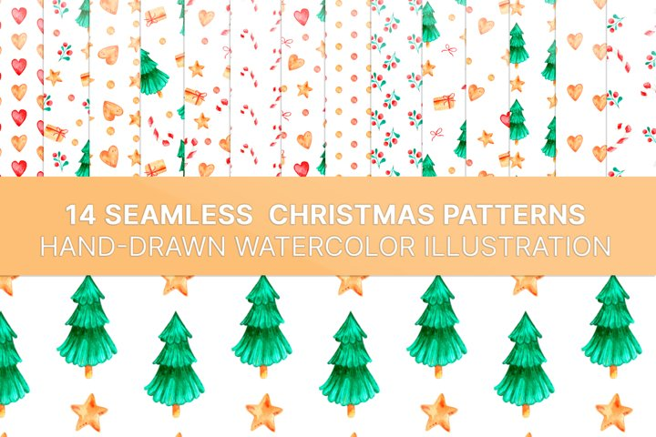 Seamless Christmas pattern with watercolor illustration