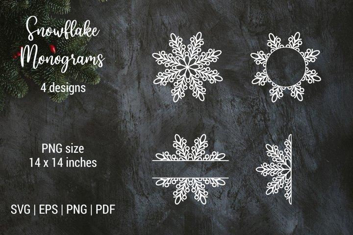 Christmas snowflake split monogram frame | Cut files | SVG
