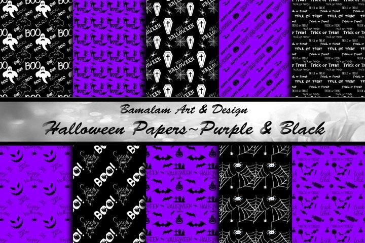 Purple & Black Halloween Patterned Papers