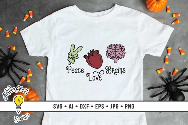 Sublimation Design Peace Love Brains