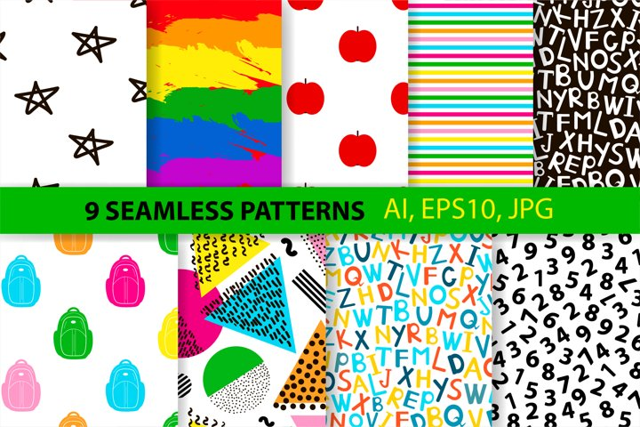 9 School seamless patterns. Digital papers.