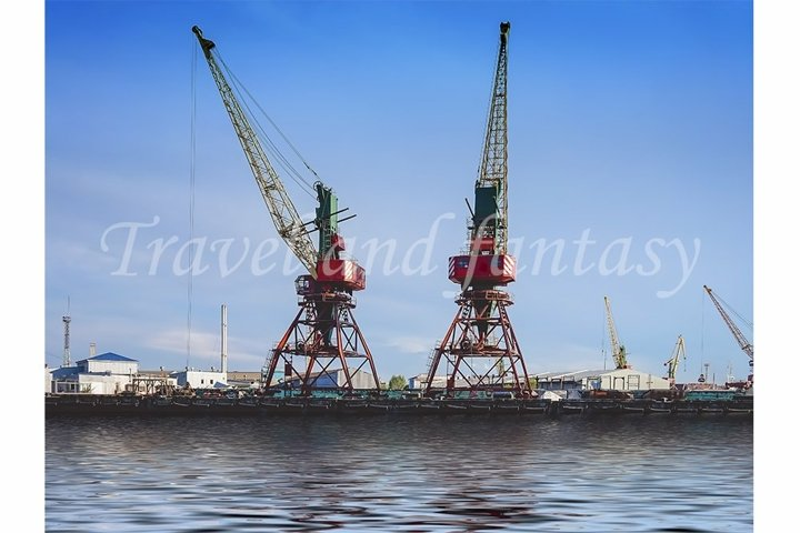 Port of a large Russian city with ships