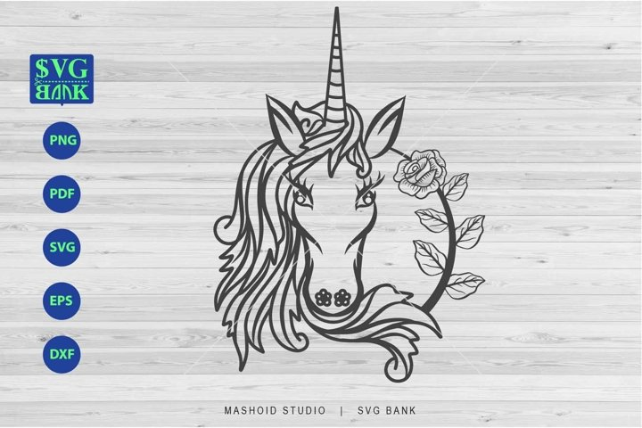 Unicorn Svg, Unicorn floral, unicorn head with flower SVG