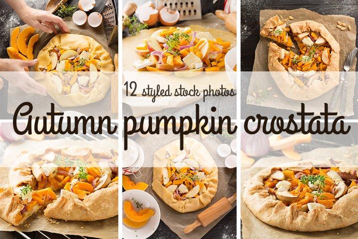 Homemade autumn pumpkin crostata