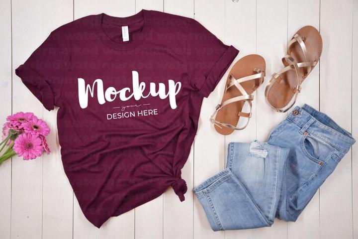 Maroon T-Shirt Mockup, Casual Shirt, BC 3100, Flat Lay