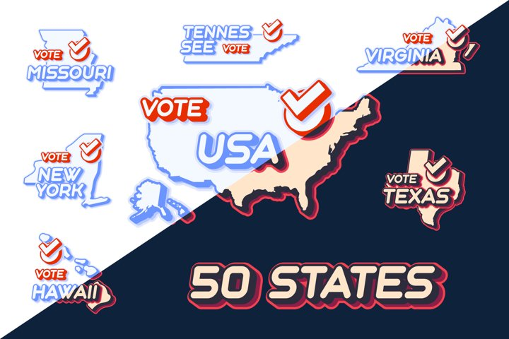 Set of US 50 vote states map