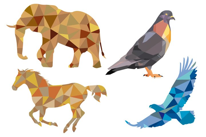 Animals Vector Polygonal Illustrations