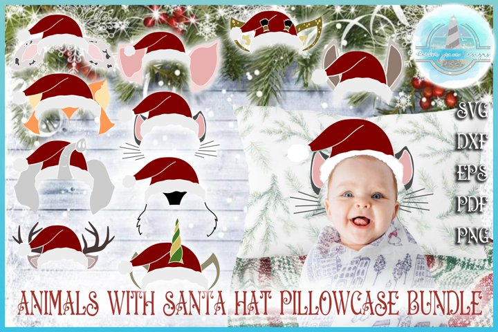 Christmas SVG, Kids Pillowcase Animal Santa Hat Bundle SVG