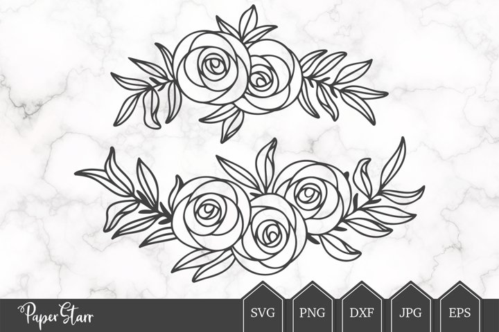 Rose Floral Laurel SVG Cut File