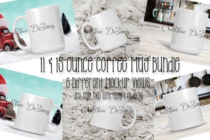 11 & 15 oz Coffee Mug Bundle, Realistic Stock Photo Mock-Up