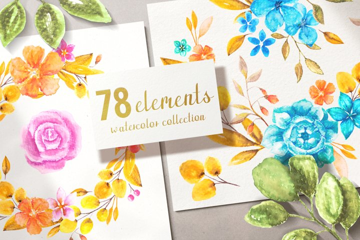 78 watercolor elements