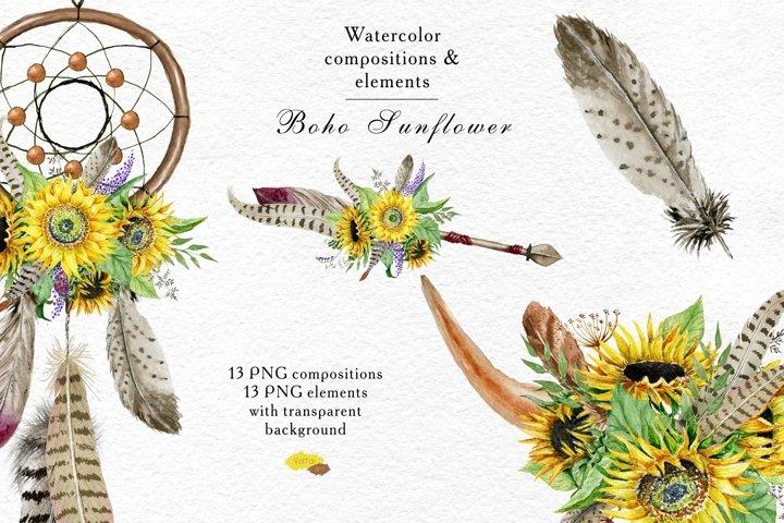 Watercolor Boho Sunflower bouquets, compositions, elements