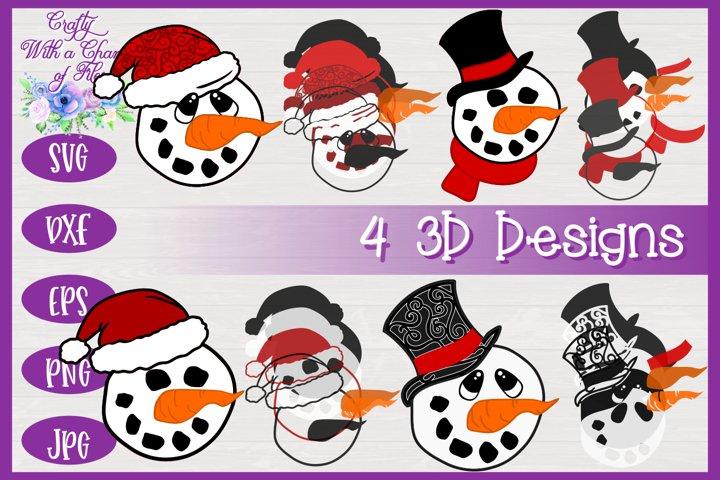 3D Layered Snowman Faces SVG 3D Christmas SVG Winter Design