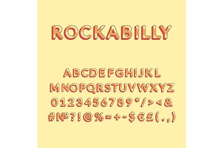 Rockabilly vintage 3d vector alphabet set