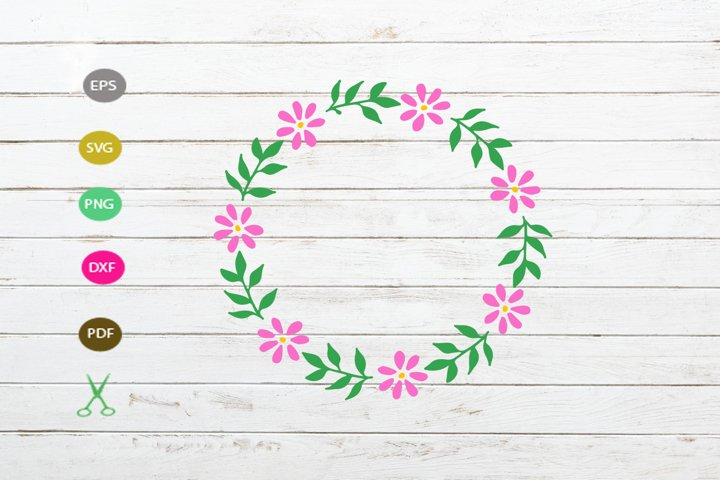flower floral frame svg,flower wreath