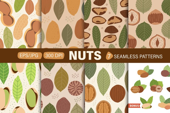 Vector set of seamless patterns with nuts.