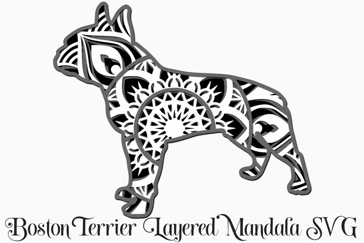Boston Terrier Layered Mandala SVG - 4 Layers Dog Breed SVG