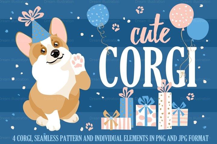 Cute corgi and a set of individual elements