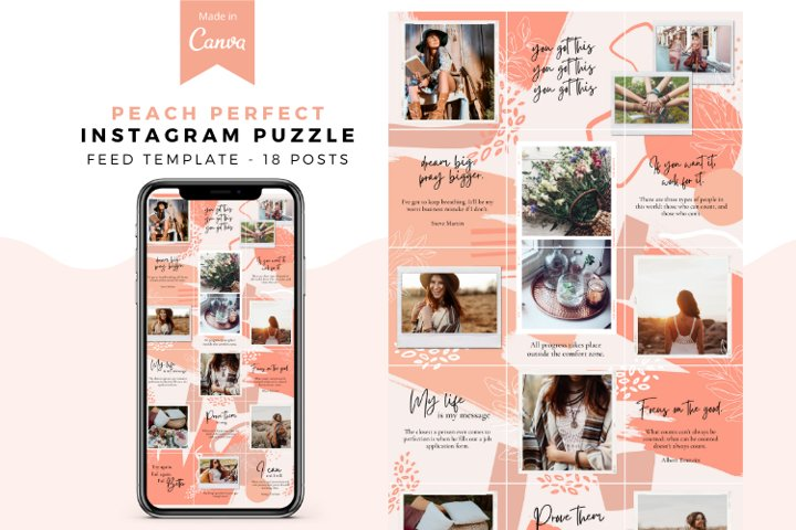 Peach Perfect, Instagram Puzzle Template, Party Biz, Canva