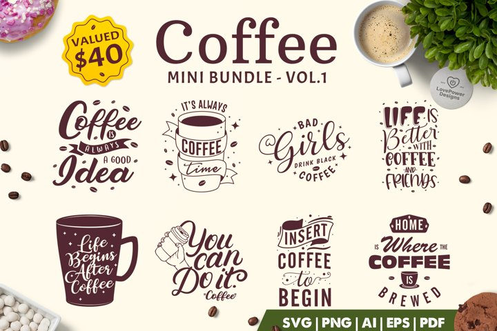 Coffee SVG Bundle | Coffee Bundle | Coffee Quotes Bundle V1