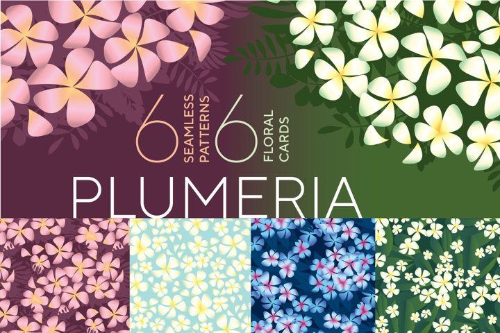 Tropical Plumeria Flowers seamless patterns