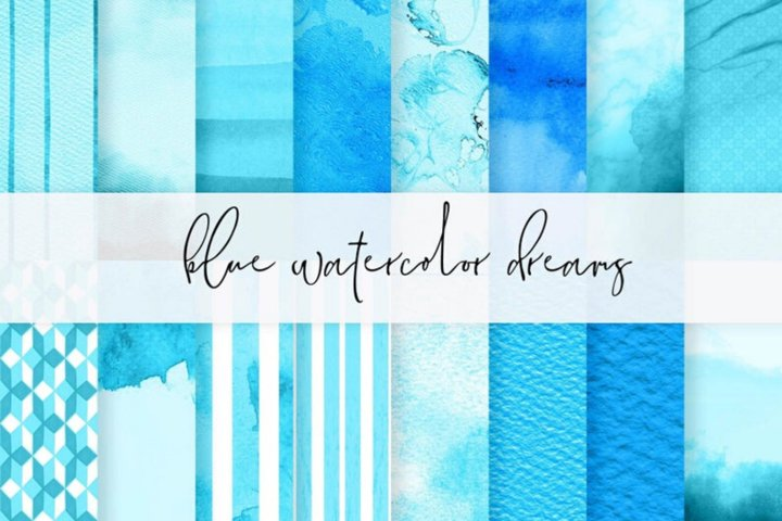 Blue digital papers, Watercolor Blue textures, Blue watercol