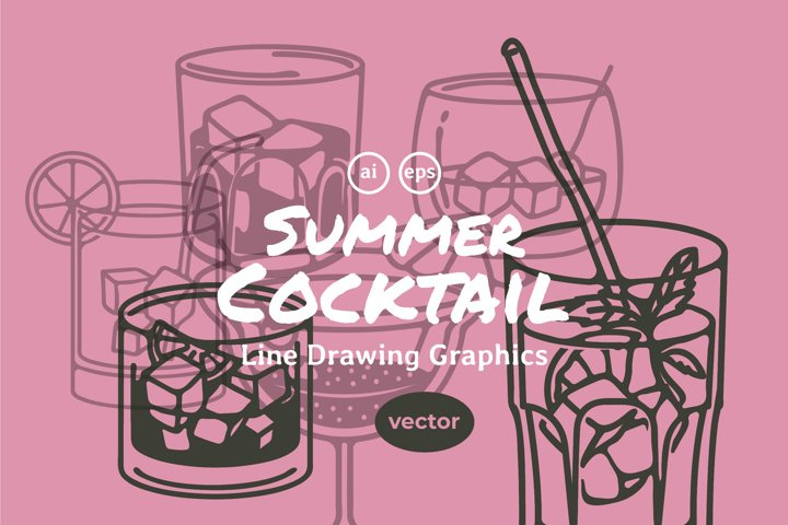 Summer Cocktail Line Drawing Graphic