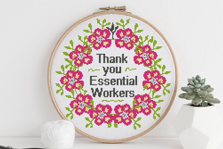 Thank you Essential Workers - Cross stitch pattern PDF