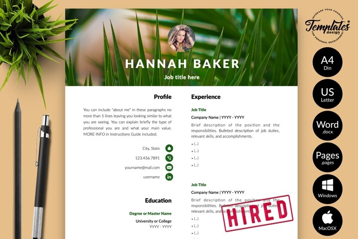 Creative Resume CV Template for Word & Pages Hannah Baker