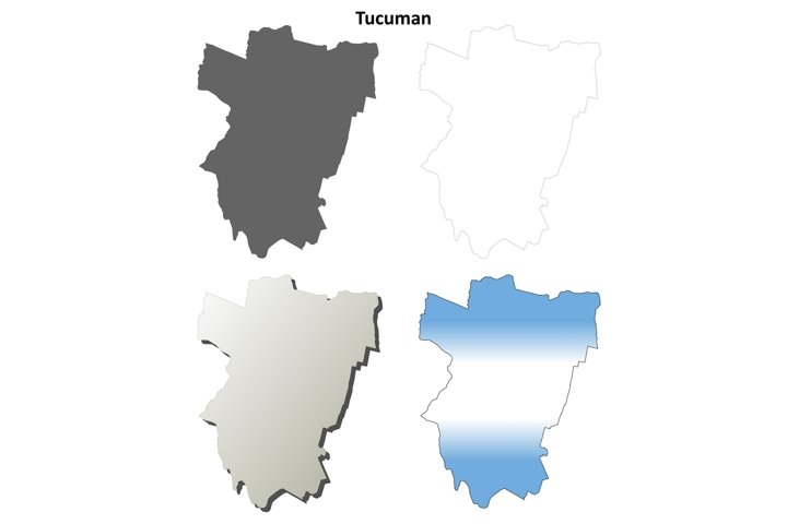 Tucuman blank outline map set