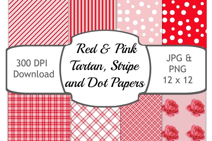 Pink and Red Tartan, Strip and Dot Background 12 x 12 inches