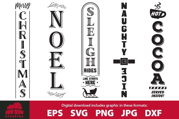 Christmas Winter porch sign bundle - SVG, EPS, JPG, PNG, DXF