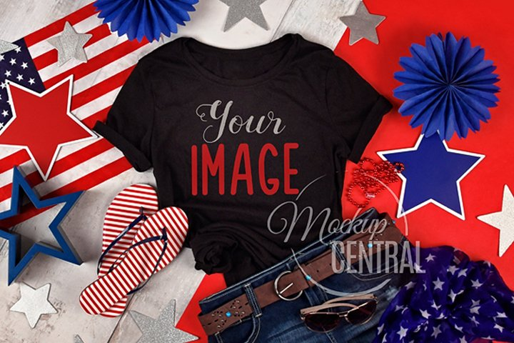 Womens Black USA America T-Shirt Mock Up Shirt, JPG