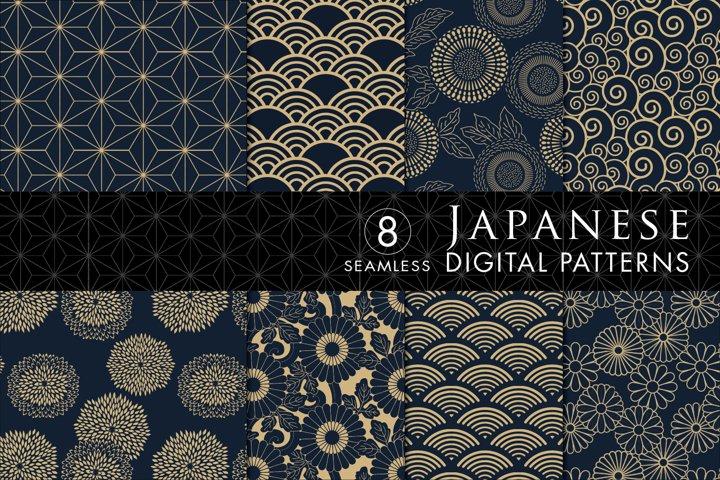 8 Seamless Japanese Inspired Patterns - Blue & Tan