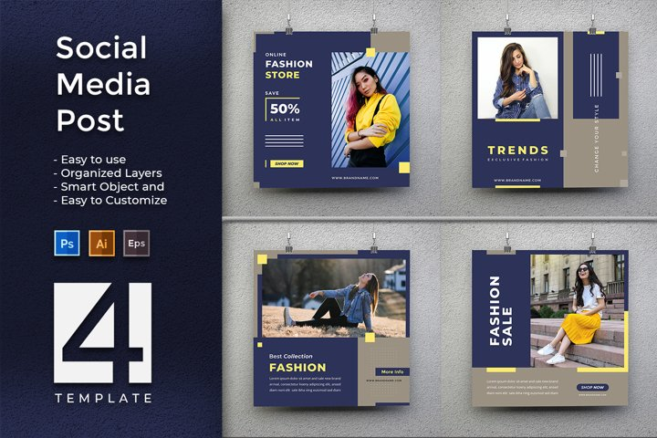 Minimalist And Modern Blue Social Media Post and Banner