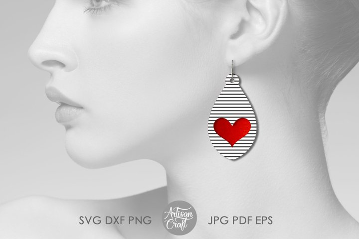 Tear drop earrings SVG, valentines jewelry, heart earrings example 4