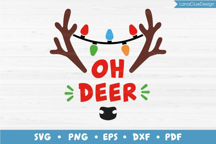 Oh Deer - Christmas Reindeer SVG PNG DXF EPS PDF