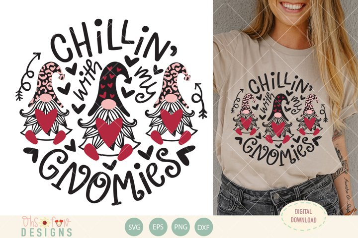 Chillin with my gnomies, gnome animal print svg