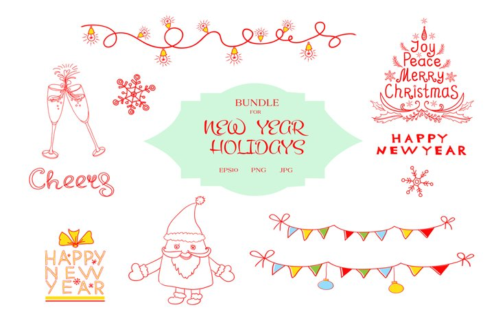 Bundle for New Year Holidays Designs for Christmas Decoratio