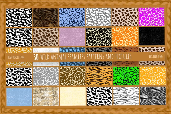 Wild Animal Seamless Patterns and Textures