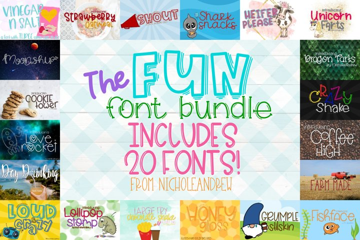 The Fun Font Bundle - Includes 20 Fonts!