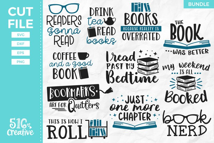 Book Lover Bundle 11 Designs SVG DXF EPS PNG