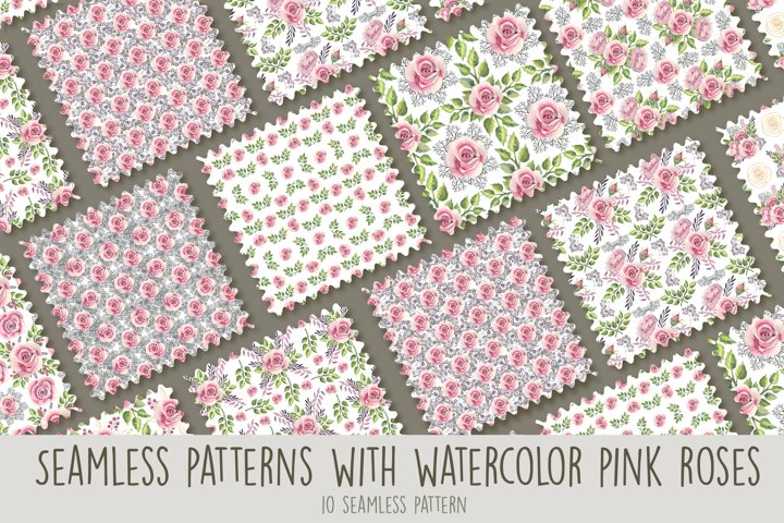 Seamless patterns with pink roses. Watercolor