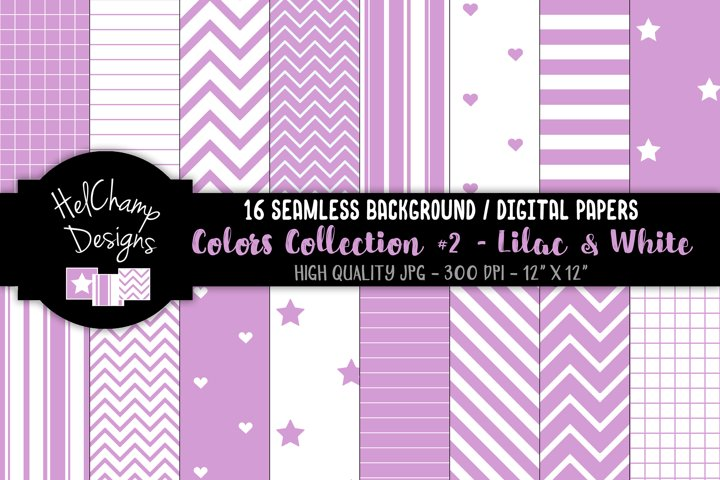 16 seamless Digital Papers - Lilac and White- HC159