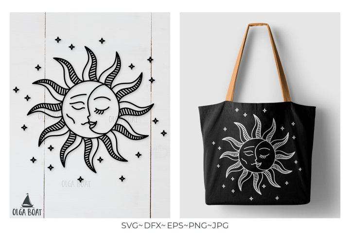Sun and moon Sun Moon svg Sun svg Celestial svg Love svg