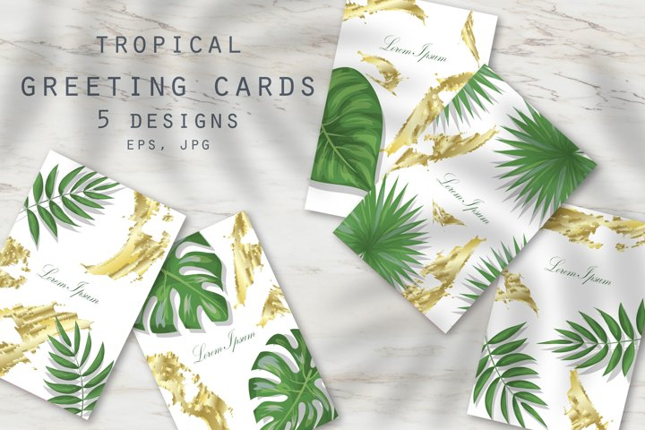 Tropical greeting cards. Set of vector designs.