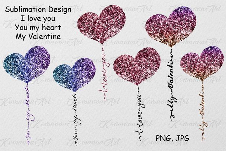 Sublimation Valentine Glitter hearts bundle-PNG