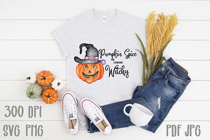 hand Painted Watercolor Witchy Halloween Pumpkin Sublimation