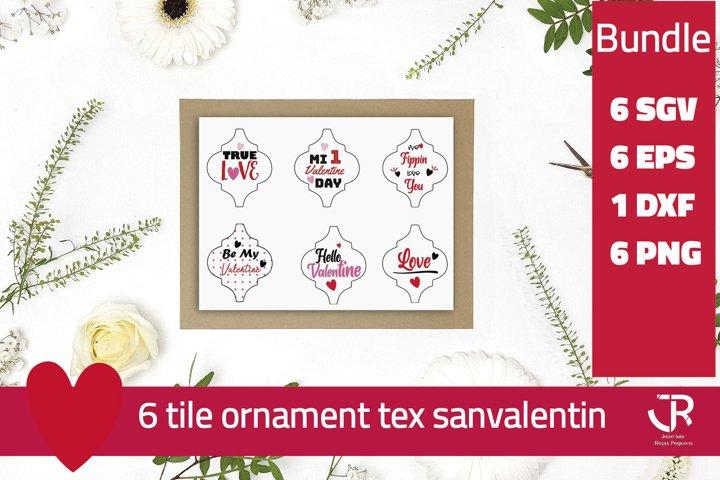Valentines Tile Ornament Bundle PNG SVG EPS DXF